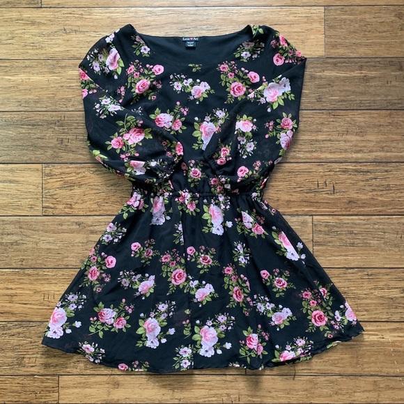 Love Ari Dresses & Skirts - Black and Pink Floral Long Sleeve Dress